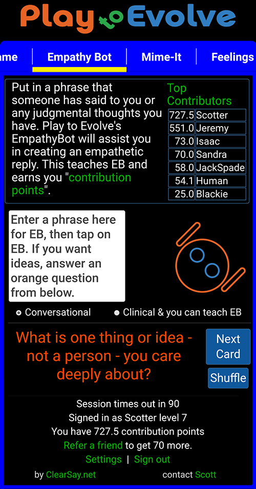 EmpathyBot a.i. and Play to Evolve - a Practical Empathy game
