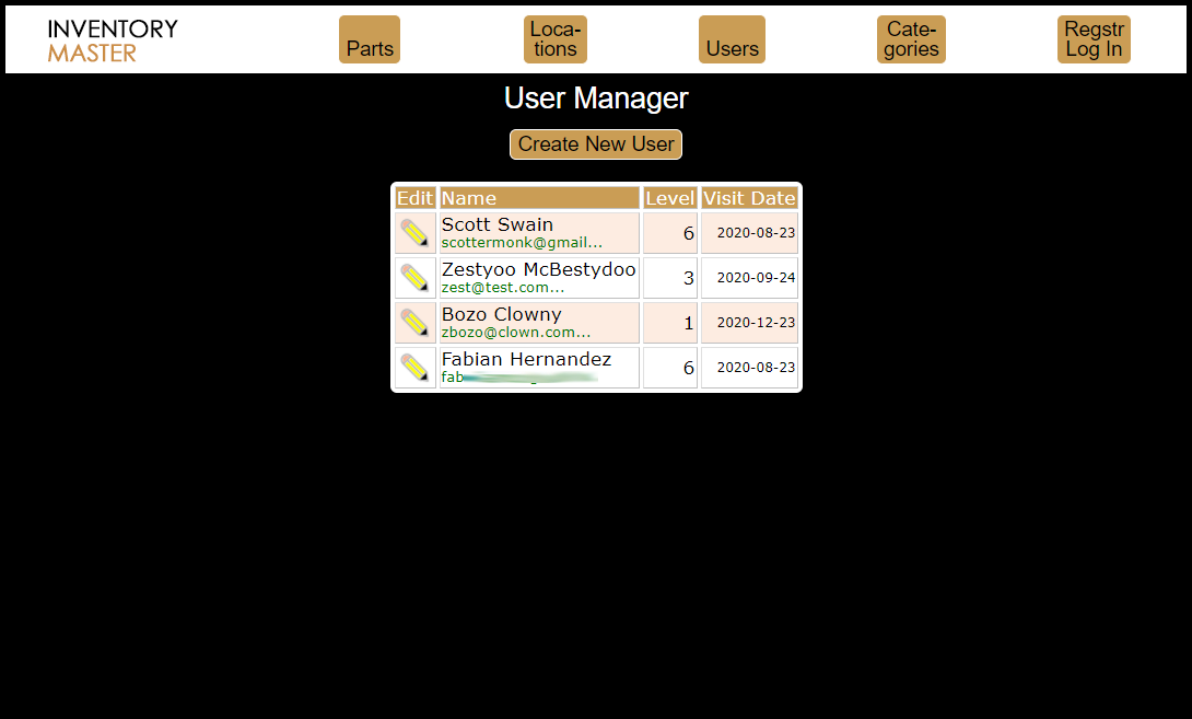 Python Inventory users screen